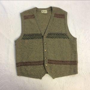 Eddie Bauer L Green 100% Wool Cardigan Button Vest